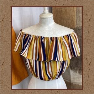FREE w/$20 ORDER  IRIS Striped Cropped Off Shoulder Ruffle Top